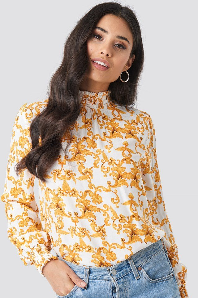 Smock Neck White Print Top White