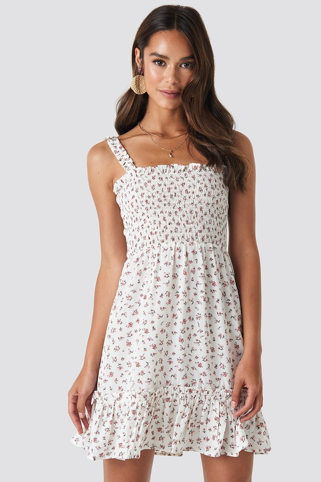 Smock Part Flower Print Dress White/Flower print