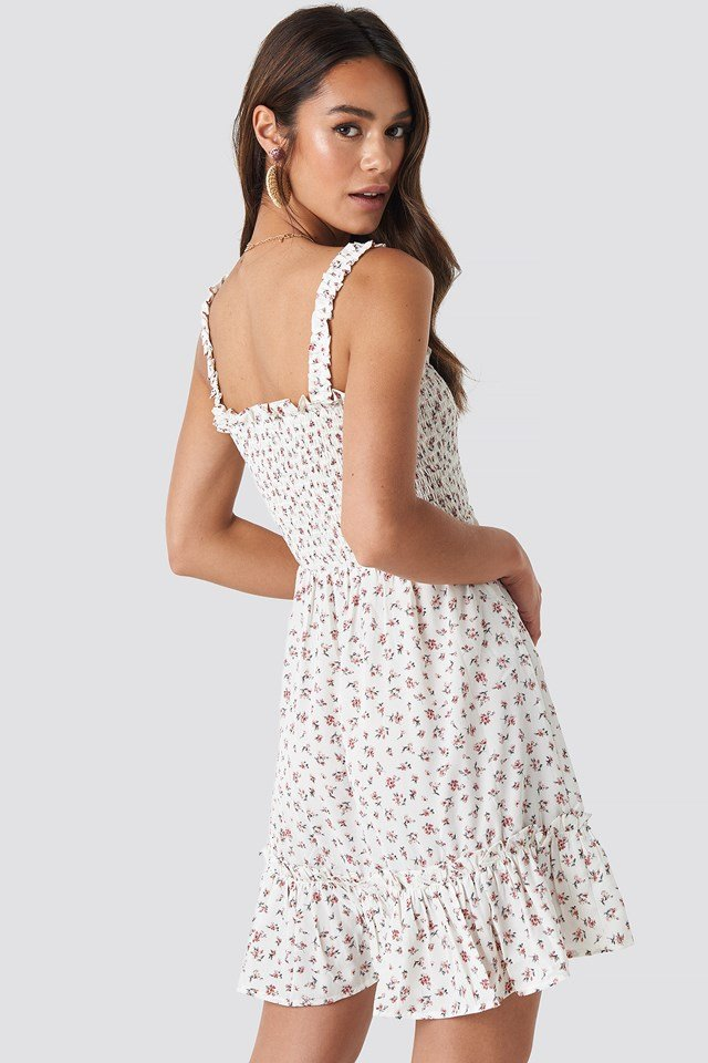 Smock Part Flower Print Dress White/Flower print
