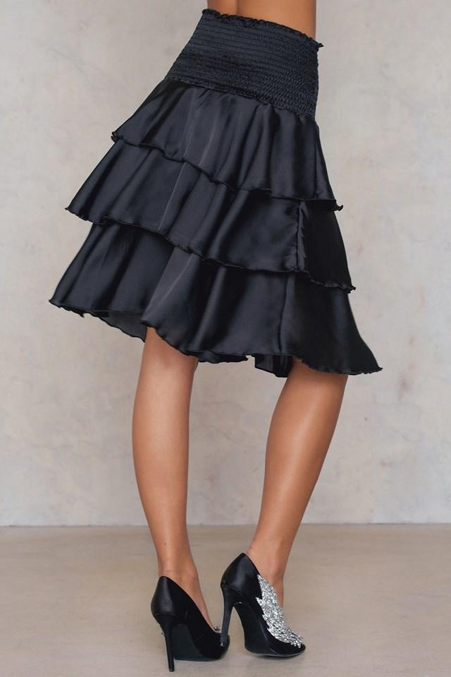 Smock Satin Mini Skirt Black