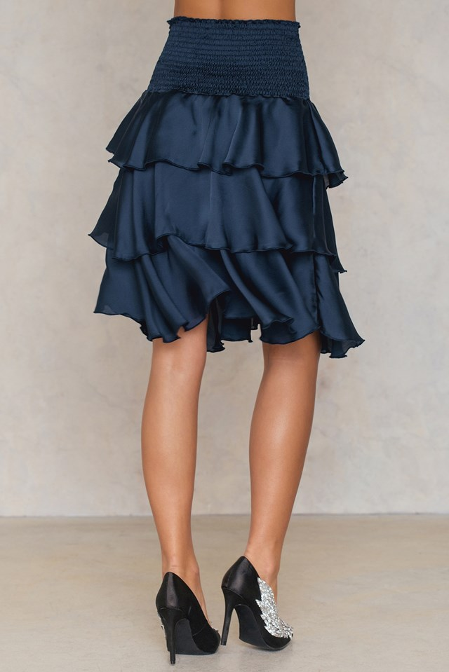 Smock Satin Mini Skirt Intese Dark Blue
