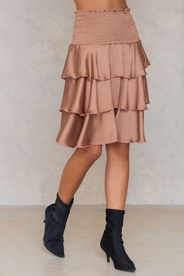 Satynowa spódnica mini z marszczeniami Pink Terracotta