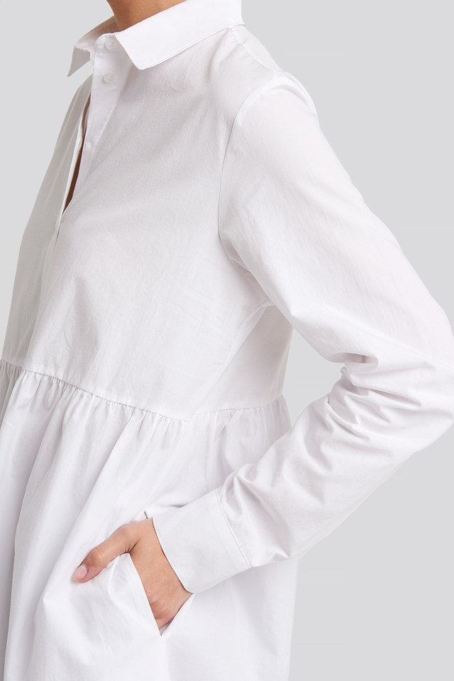 Smock Shirt Mini Dress White