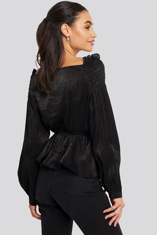 Smock Shoulder Drawstring Blouse Black