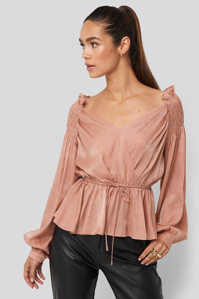 Smock Shoulder Drawstring Blouse NA-KD Party