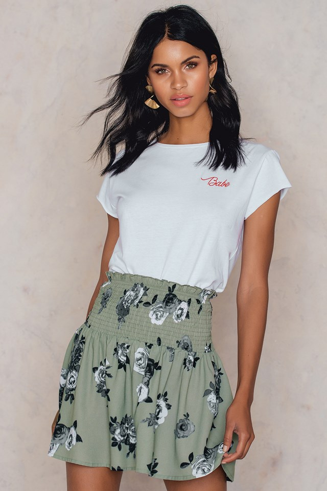 Smock Skirt Green Print