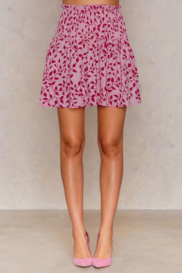 Smock Skirt Pink Red Print