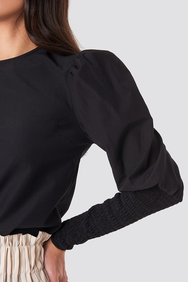 Smock Sleeve Detail Blouse Black