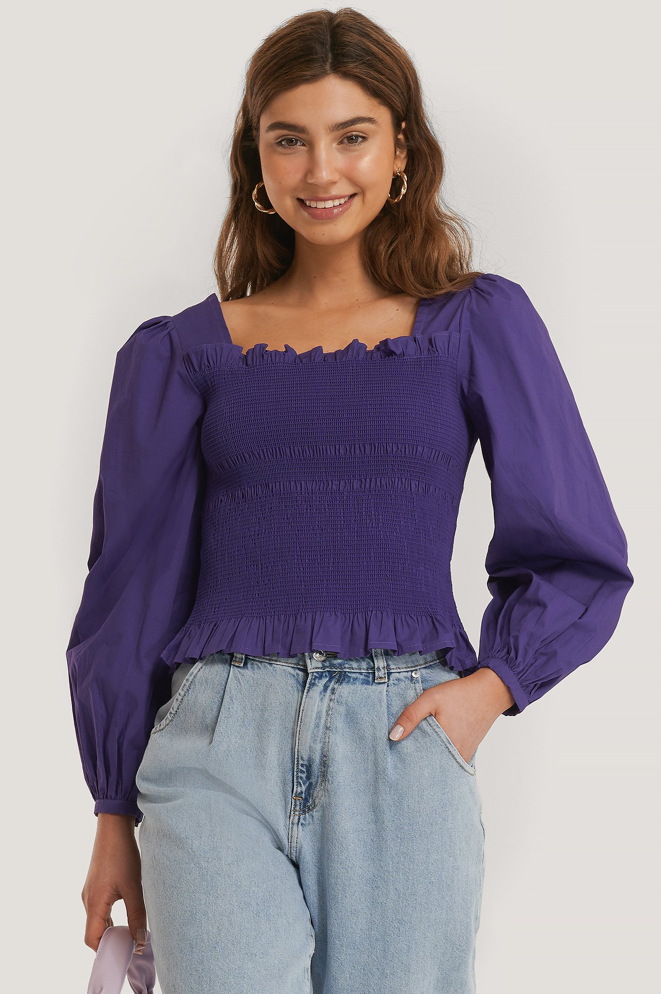 Purple Smocked Balloon Sleeve Blouse