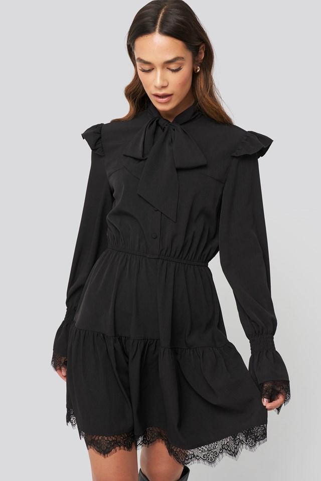 Smocked Flounce Lace Detail Dress Black