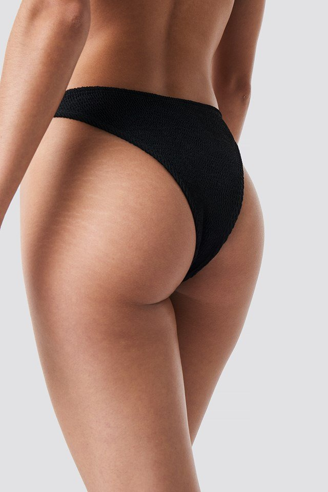 Smocked High Cut Bikini Panty Black
