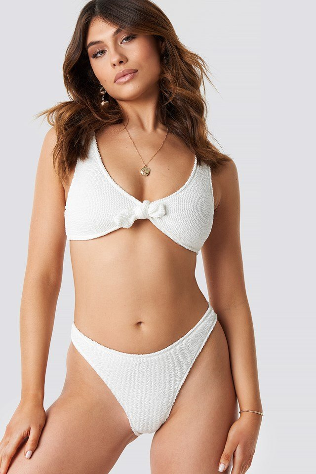 Smocked High Cut Bikini Panty White