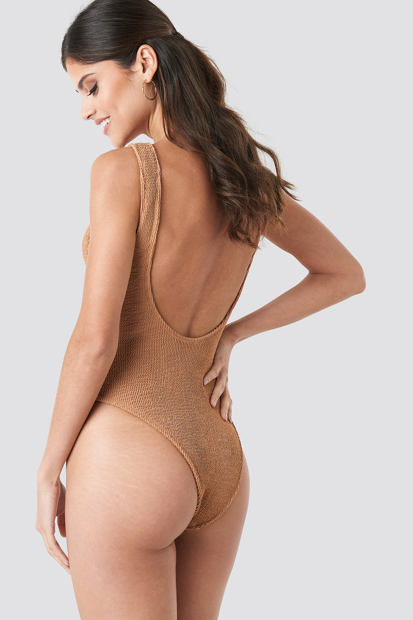 Smocked High Cut Swimsuit NA-KD.COM