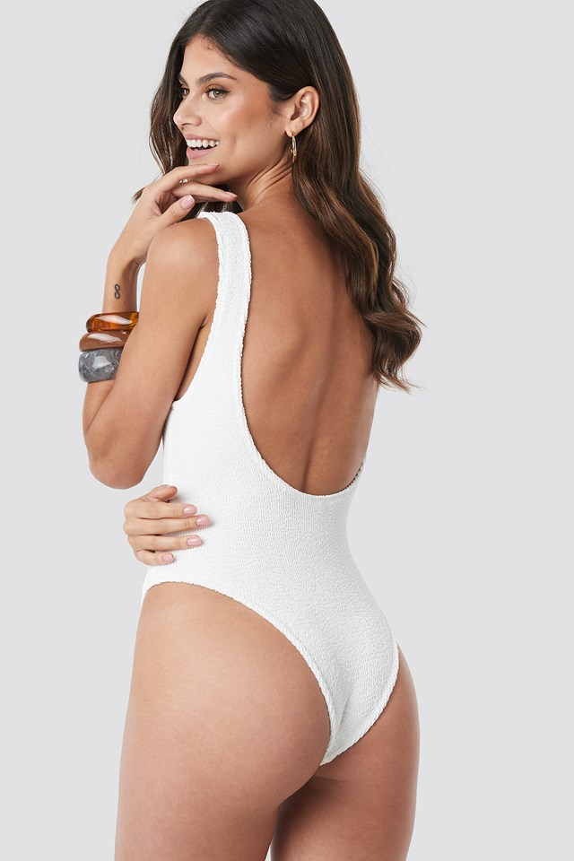 Smocked High Cut Swimsuit White