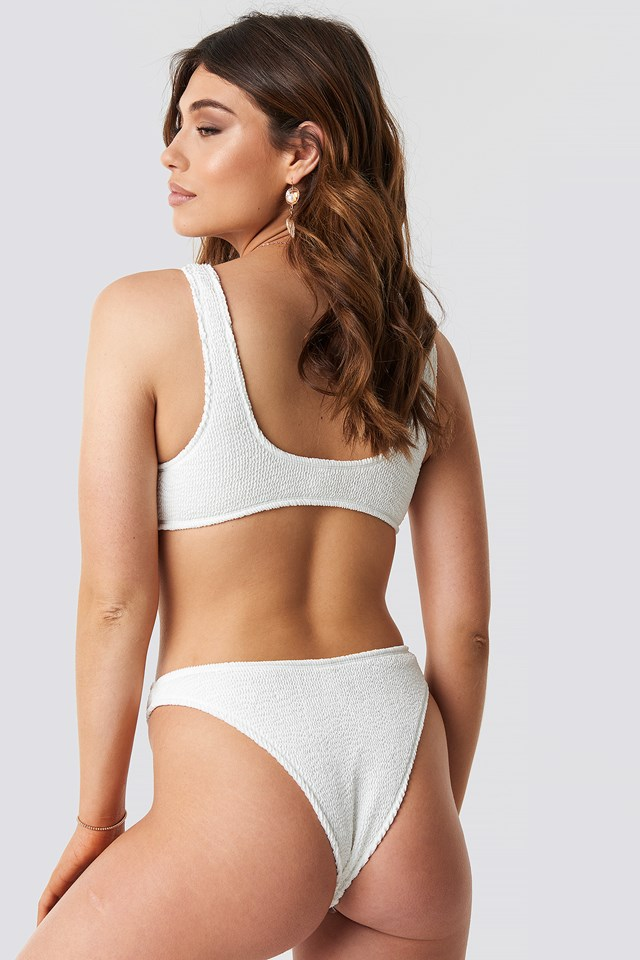 Smocked Knot Tie Bikini Top White
