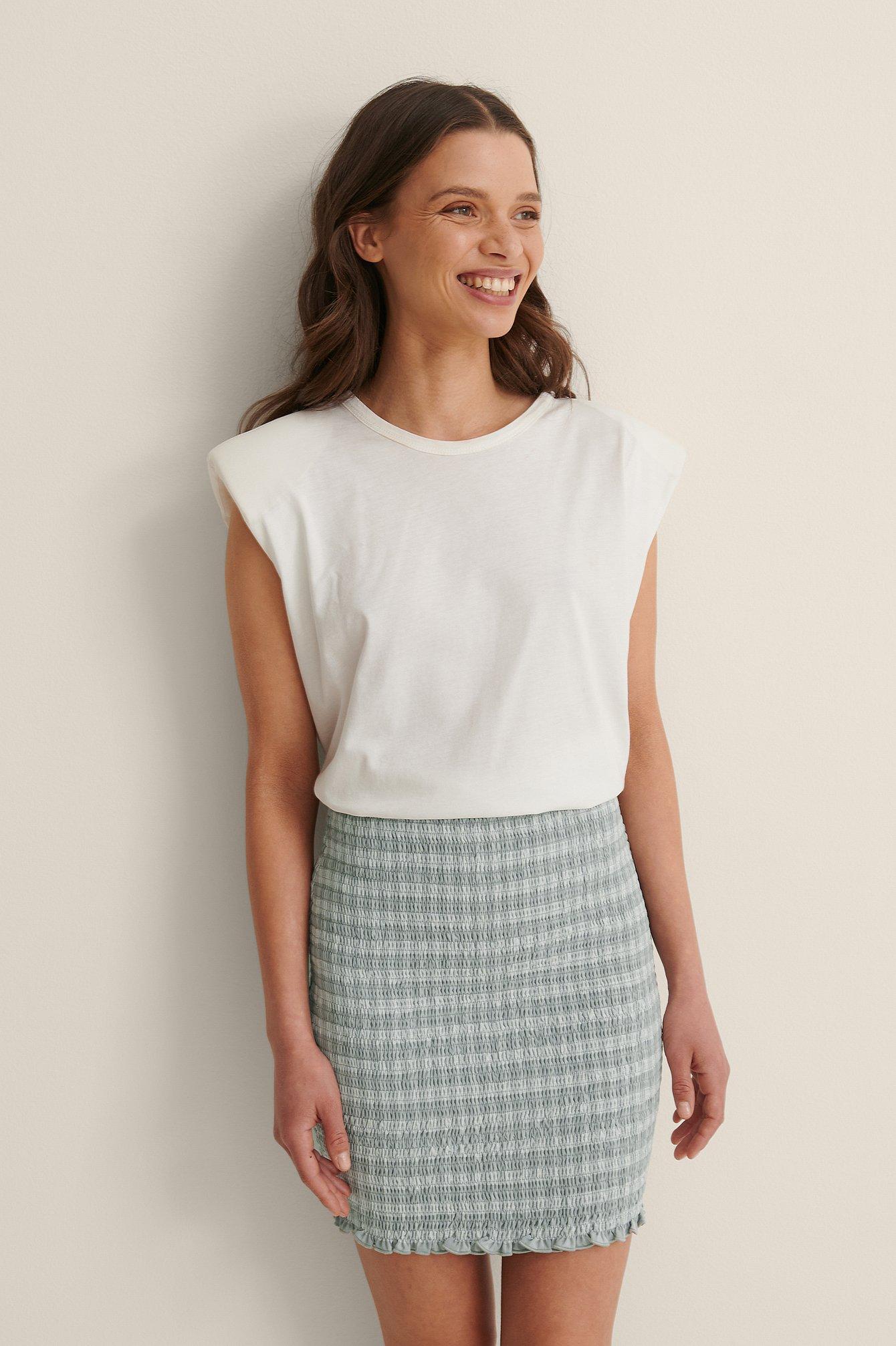 Na-kd Smocked Plaid Mini Skirt - Grey
