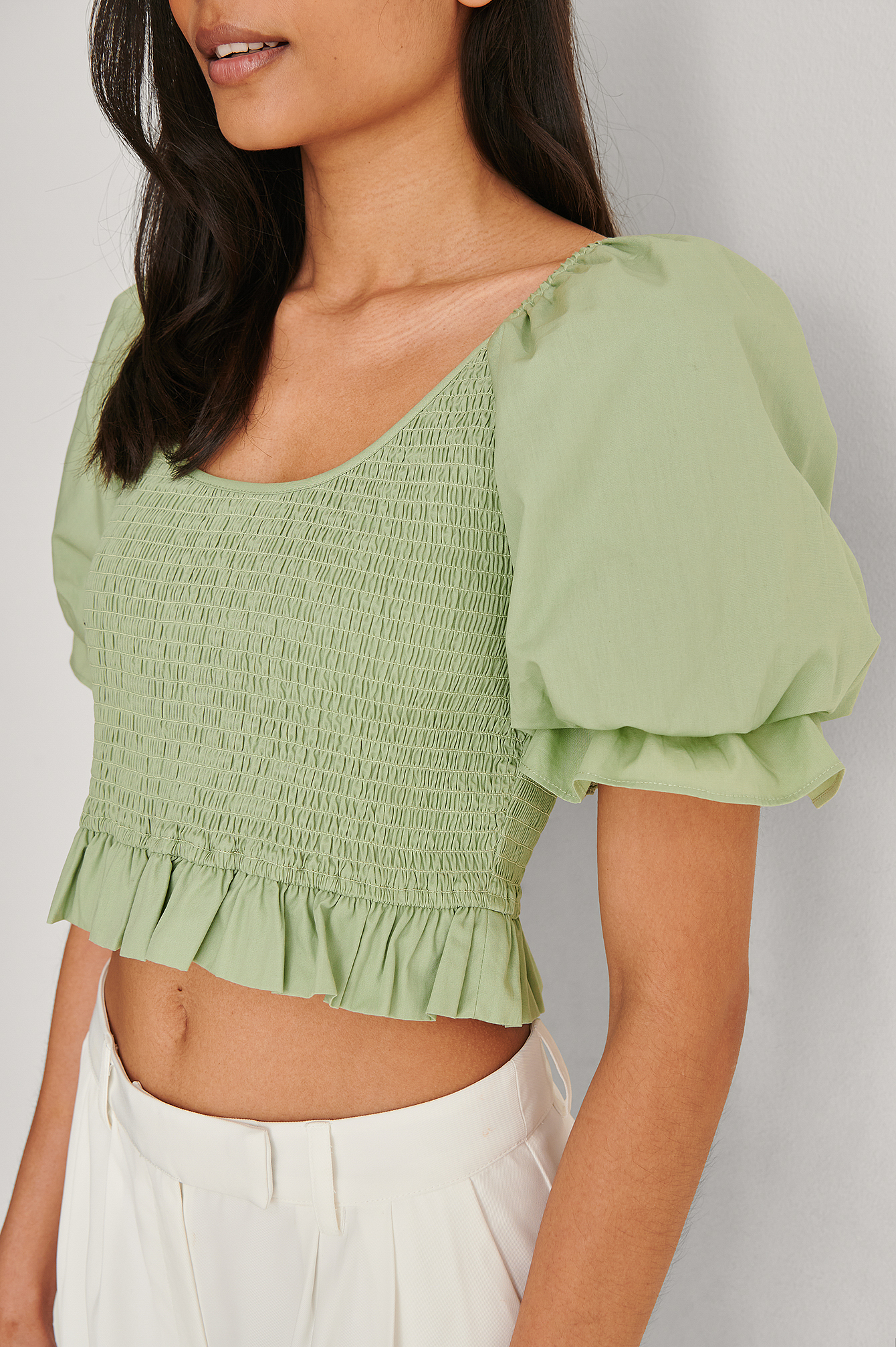 Pale Green Smocked Short Puff Sleeve Top