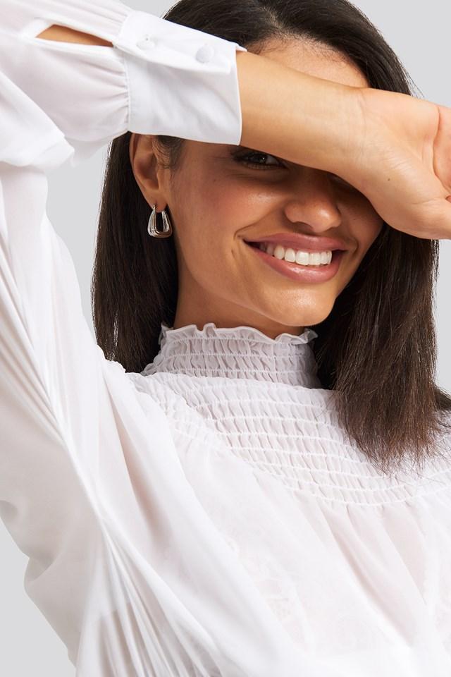 Smocked Shirred Blouse White