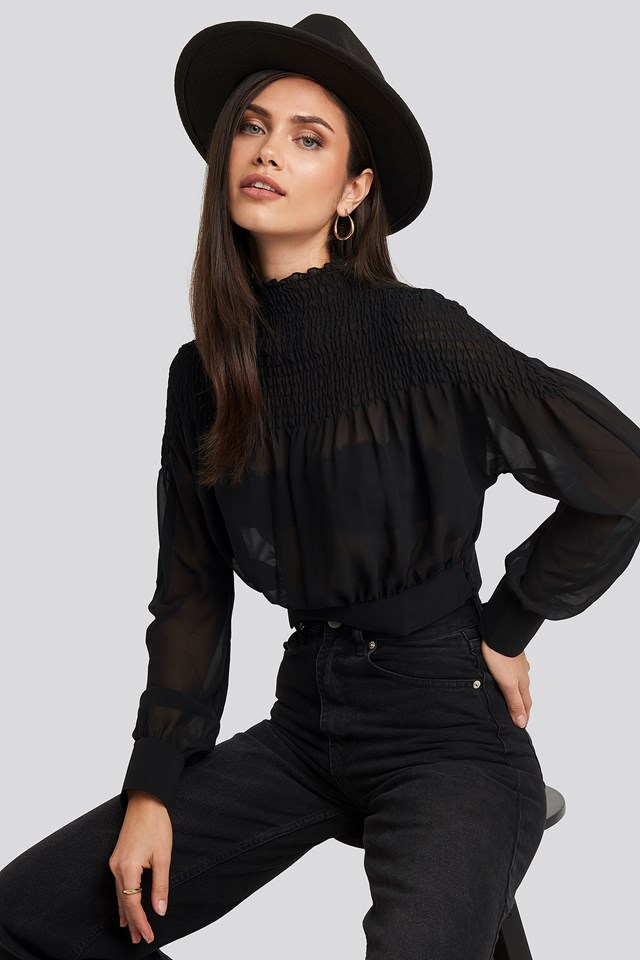 Smocked Shirred Blouse Black