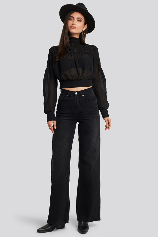 Smocked Shirred Blouse Black