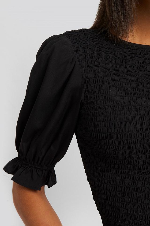 Smocked Short Sleeve Blouse Black