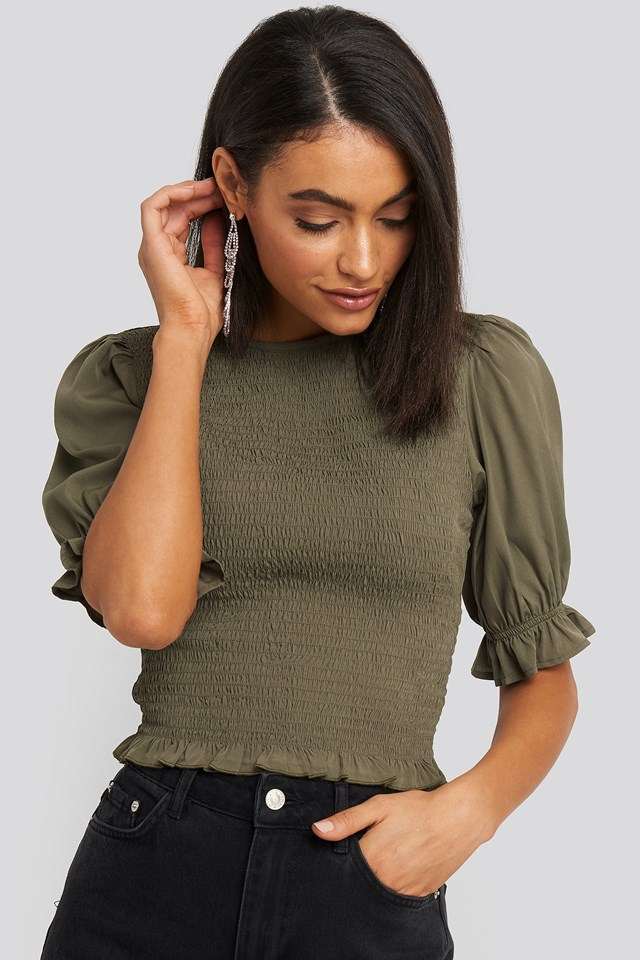 Smocked Short Sleeve Blouse Khaki