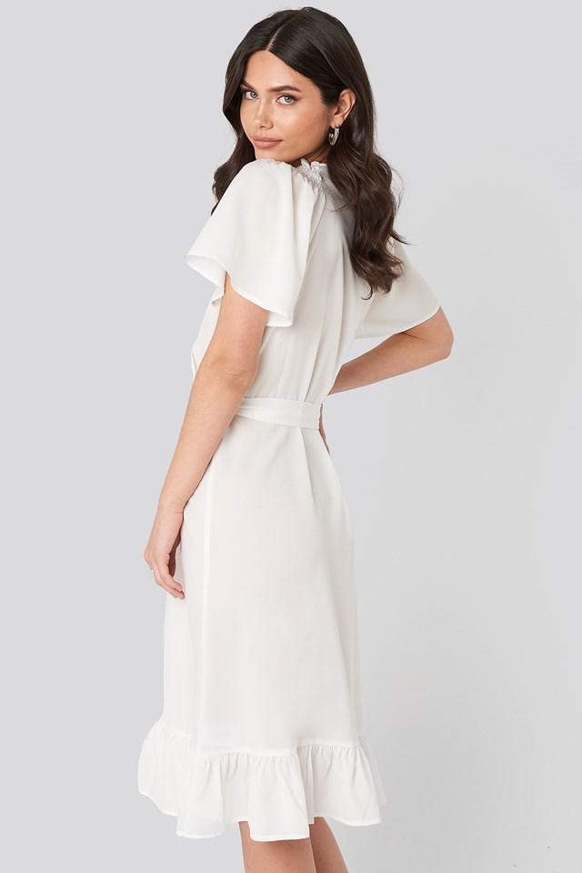 Smocked Shoulder Belted Frill Dress White