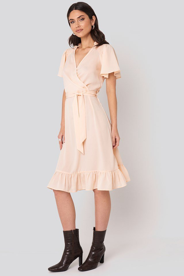 Smocked Shoulder Belted Frill Dress Cream