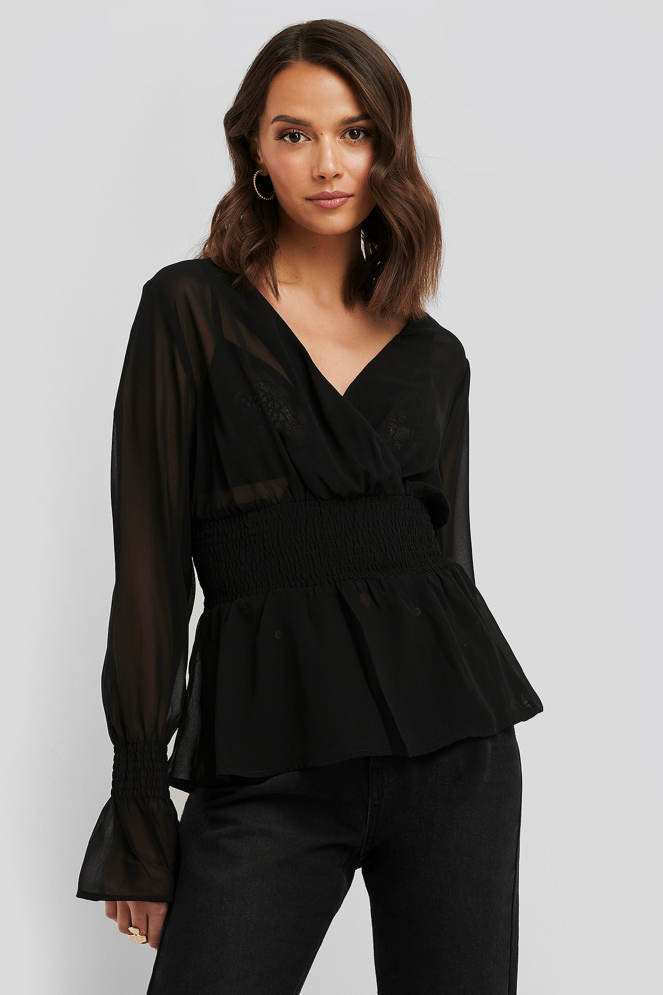 Black Smocked Sleeve Blouse