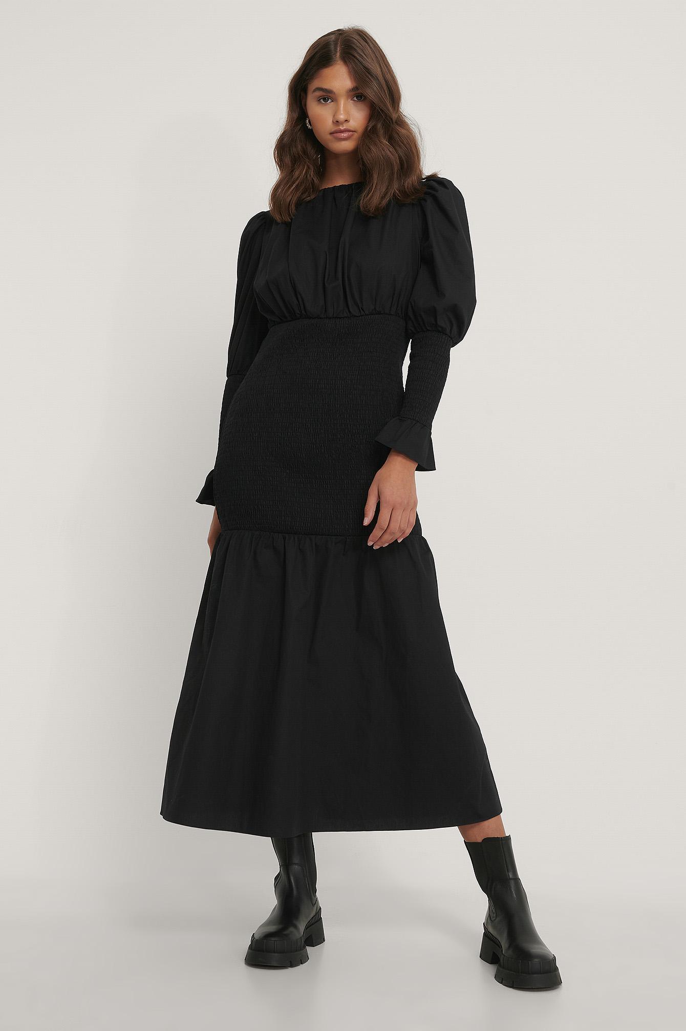NA-KD Trend Smocked Sleeve Dress - Black