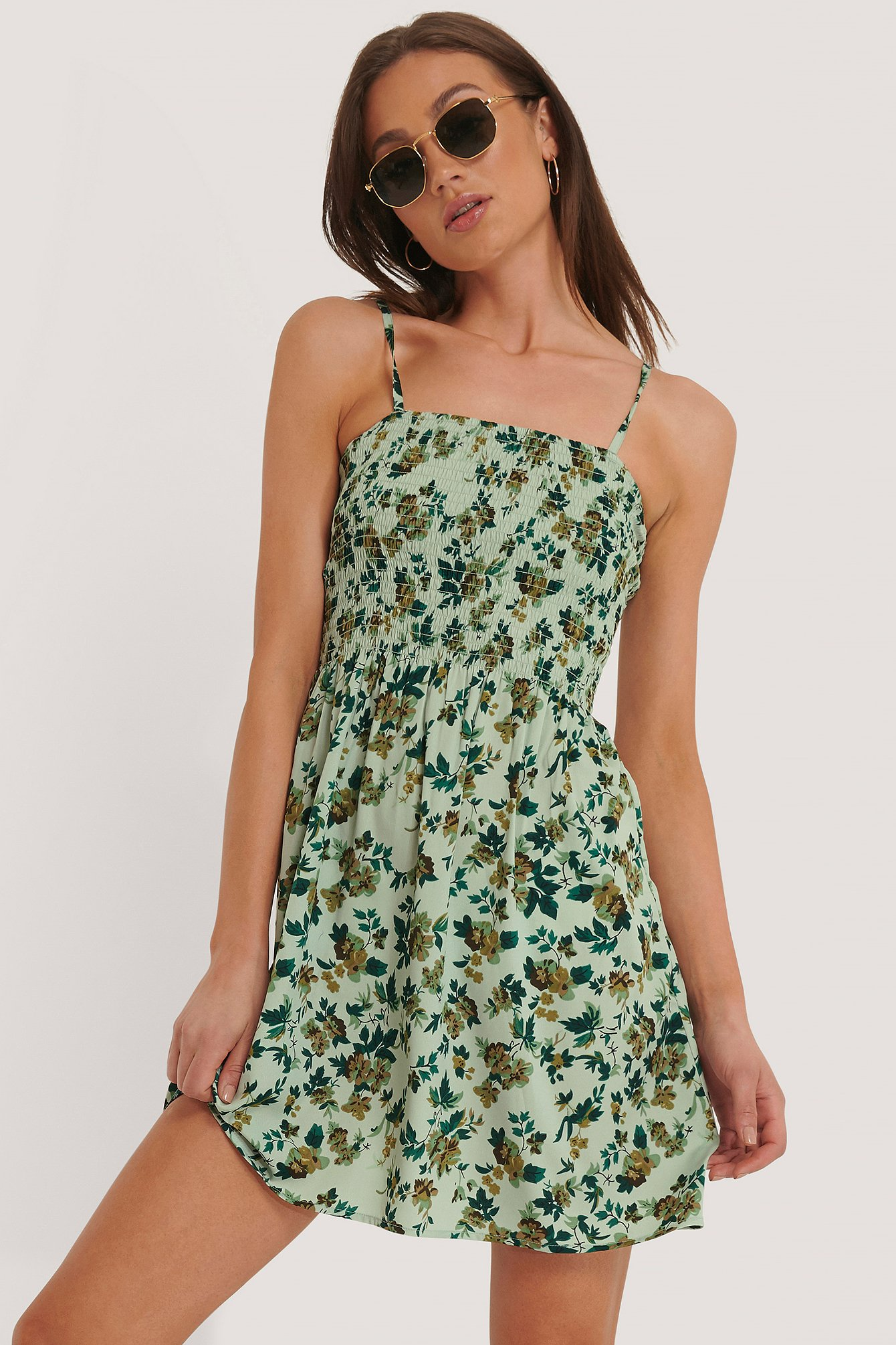 NA-KD Smocked Strap Dress - Green