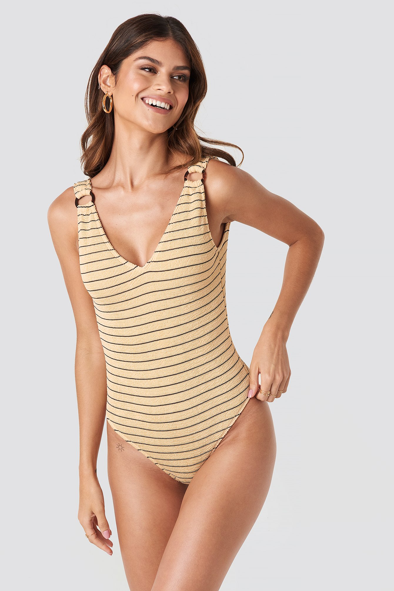 NA-KD Swimwear Smocked Striped Swimsuit - Beige