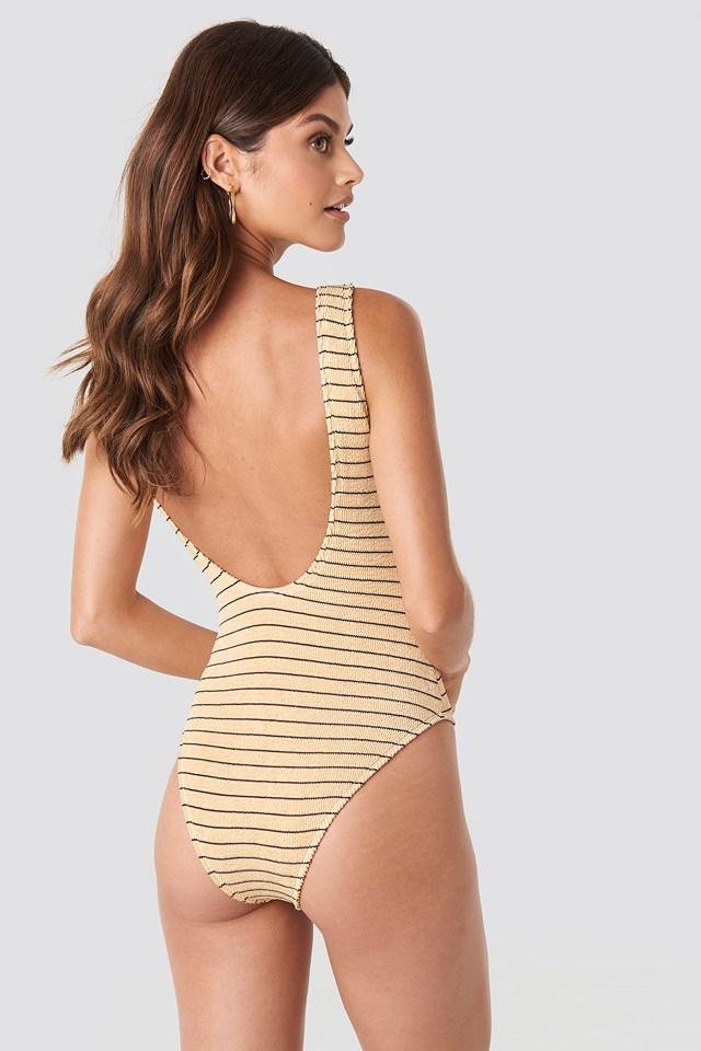 Smocked Striped Swimsuit Beige