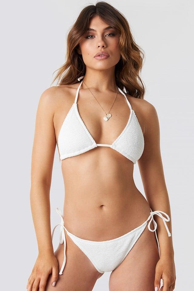 Smocked Triangle Bikini Panty White