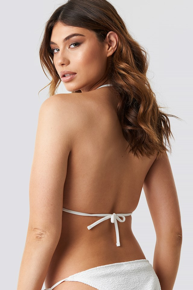 Smocked Triangle Bikini Top White