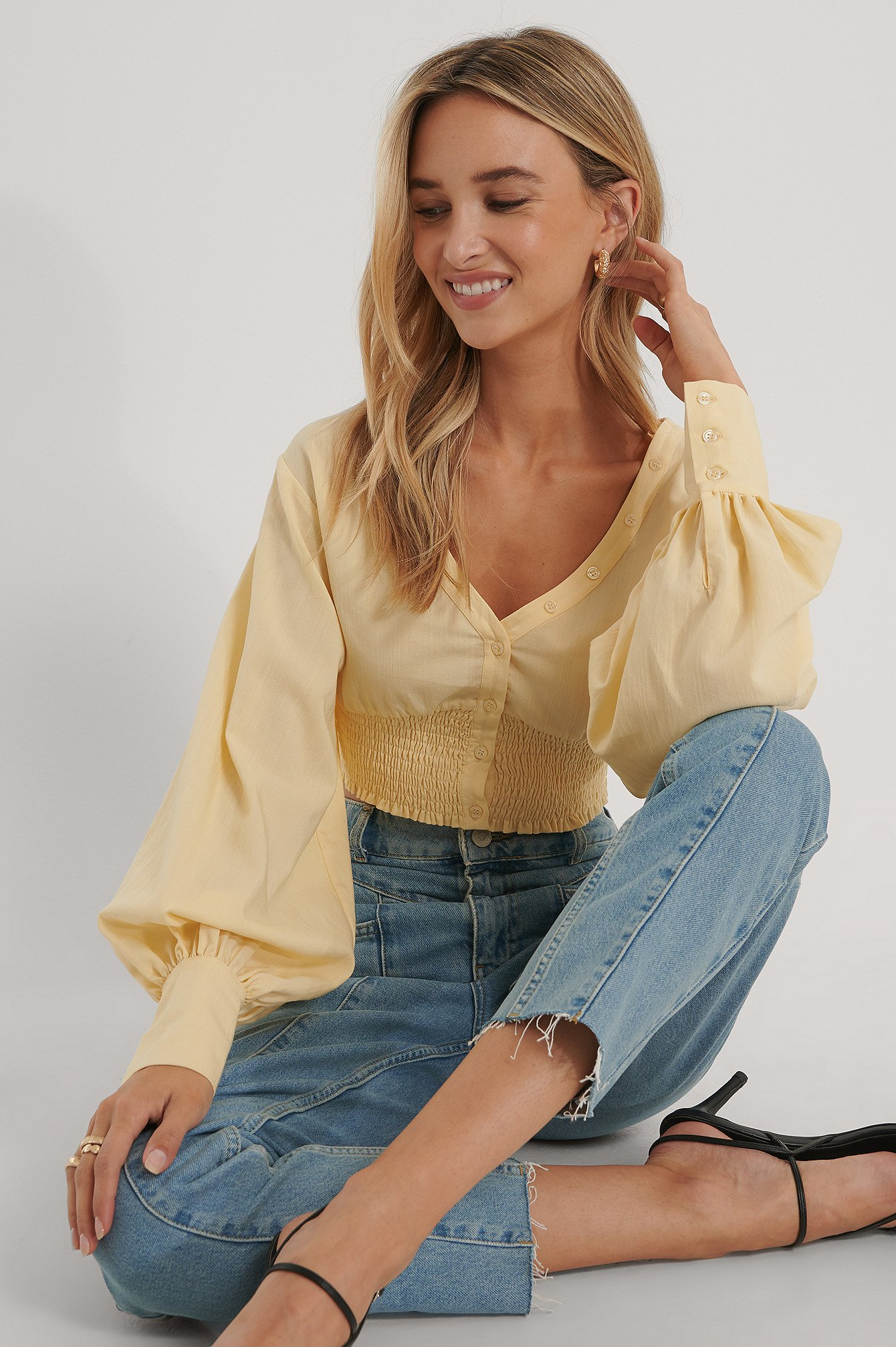 The Fashion Fraction x NA-KD Blus Med Ballongärm - Yellow