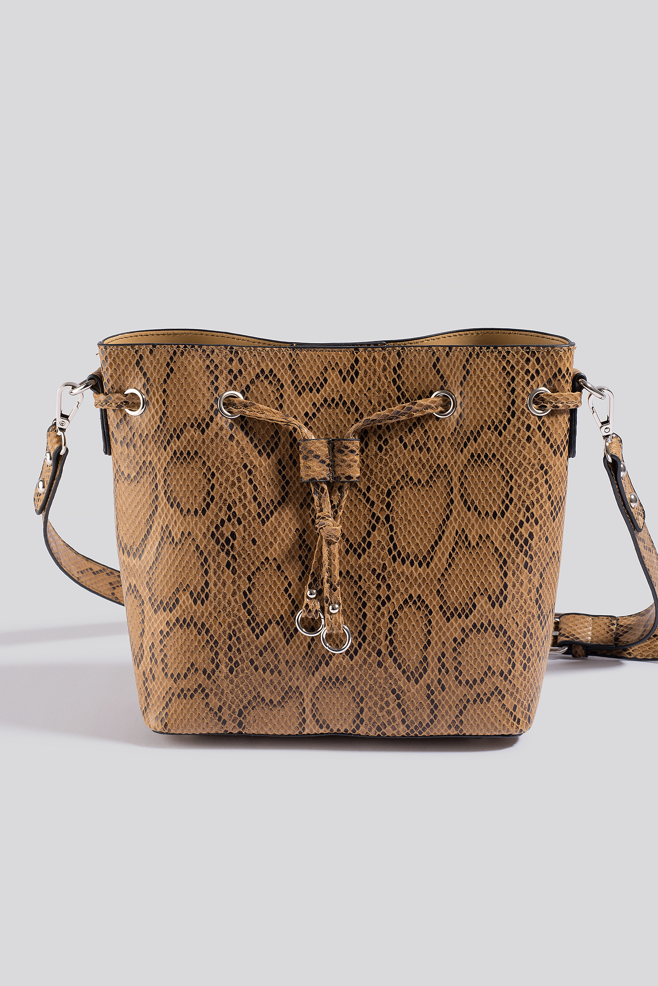 Beige Snake Bucket Bag