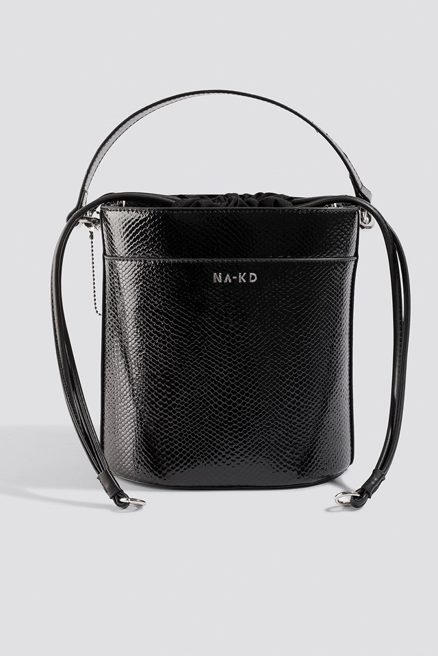 Snake Bucket Bag Black