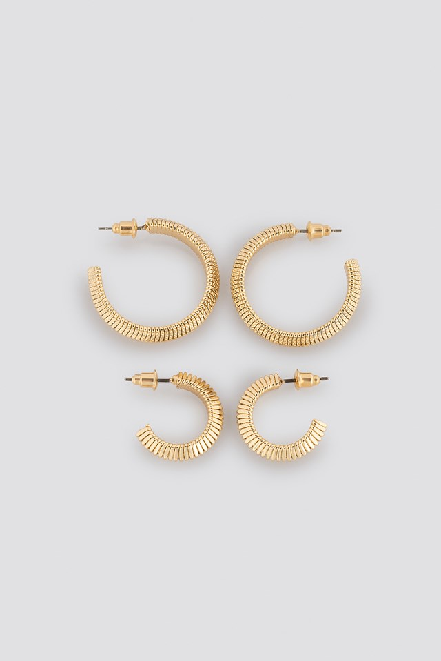 Snake Chain Hoop Earrings (Double Pack) NA-KD Accessories