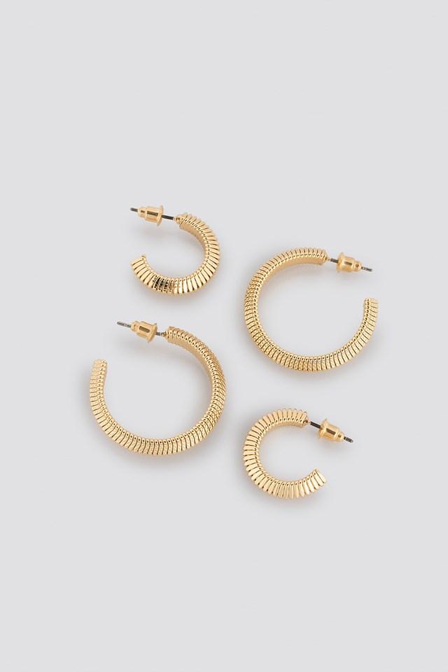 Snake Chain Hoop Earrings (Double Pack) Gold