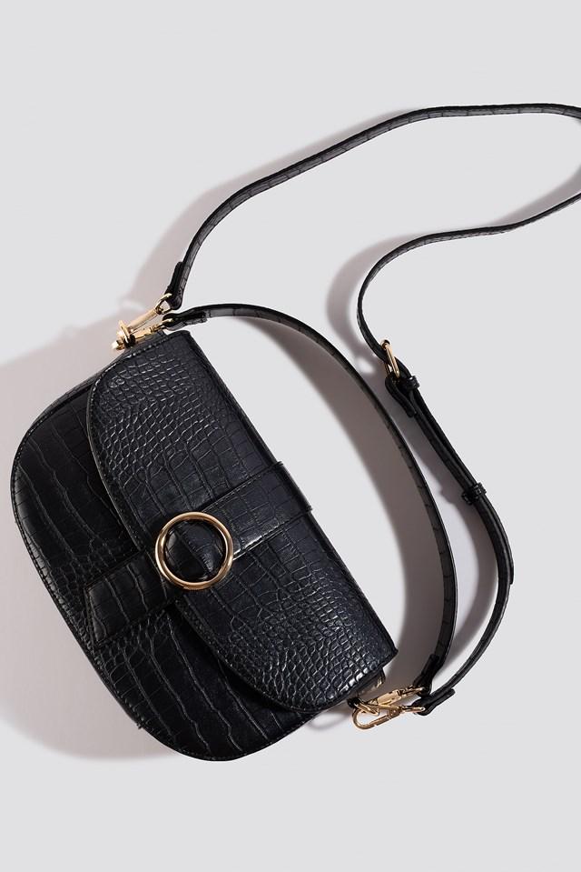Snake Crossover Handbag Black