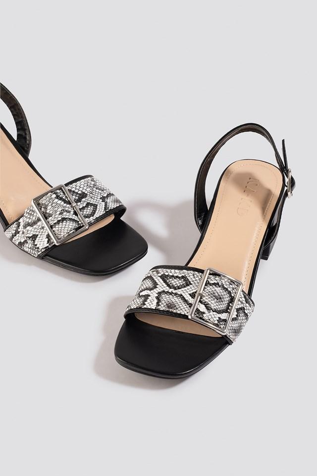 Snake Detail Buckle Sandals Black