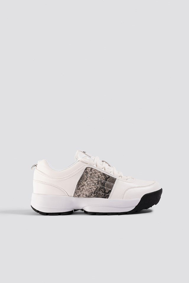 Snake Detail Sneakers Offwhite