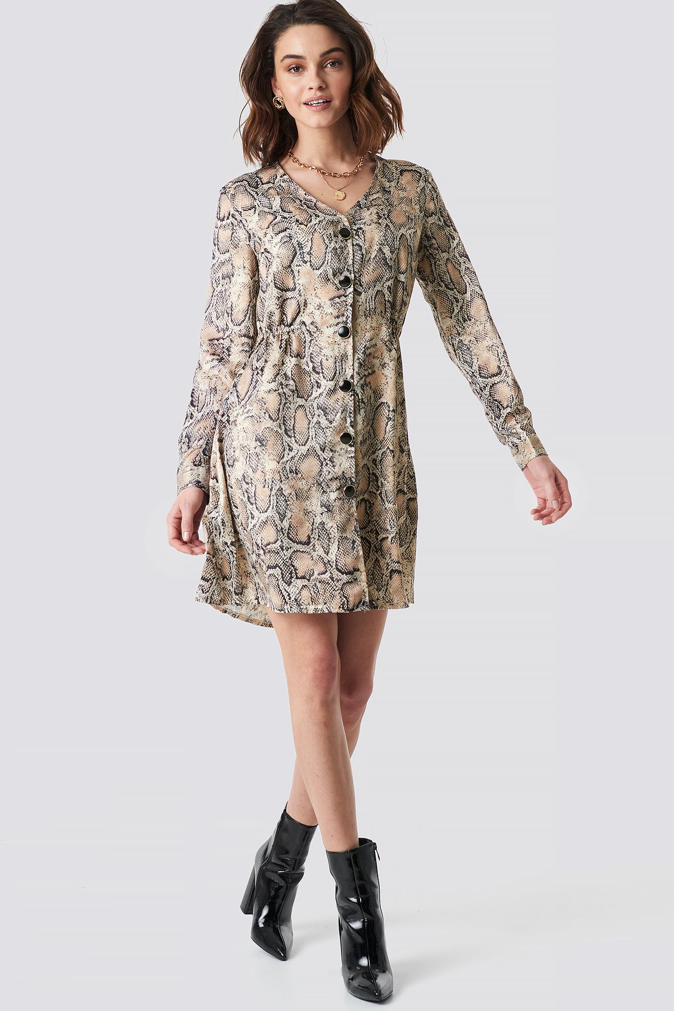 trendyol -  Snake Patterned Dress - Beige