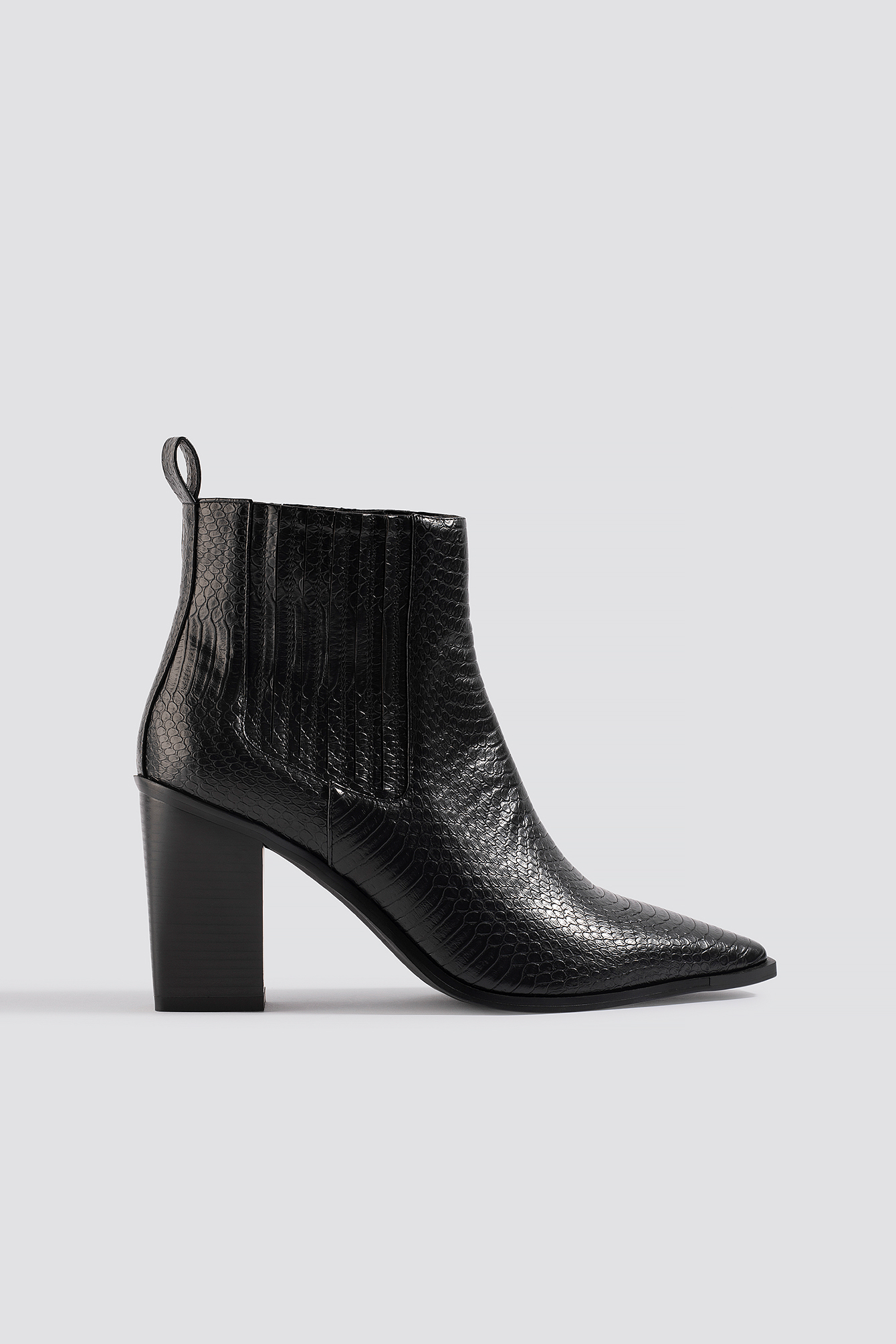 na-kd shoes -  Snake Pointy Western Boots - Black