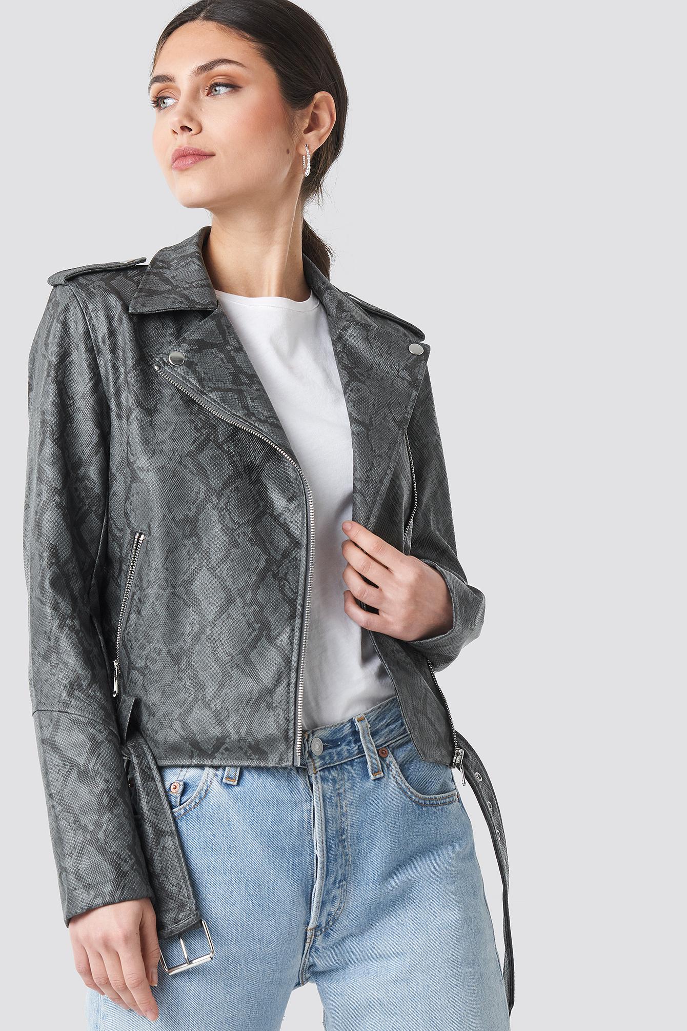 na-kd -  Snake Print Biker Jacket - Grey