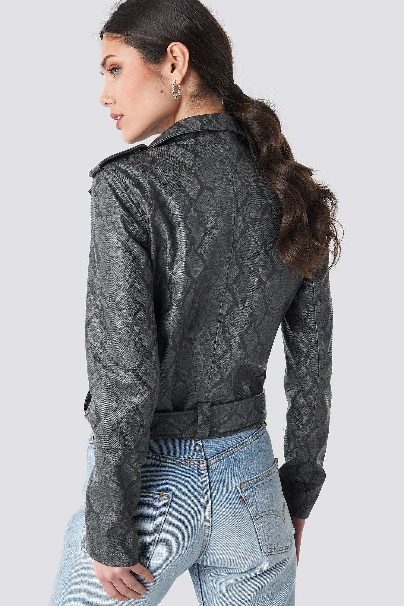 Snake Print Biker Jacket NA-KD.COM