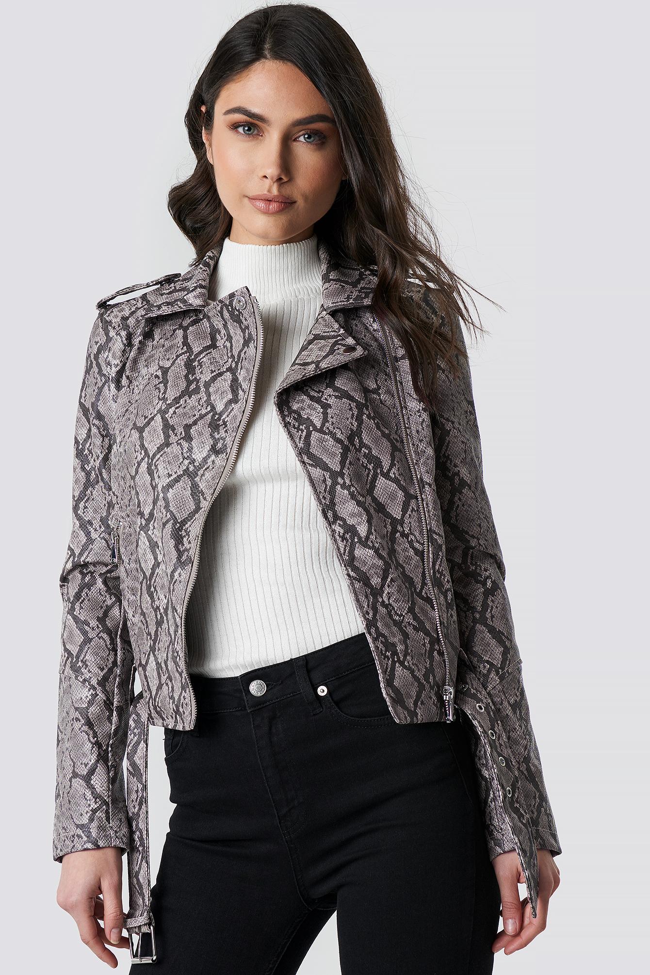 na-kd -  Snake Print Biker Jacket - Grey,Multicolor