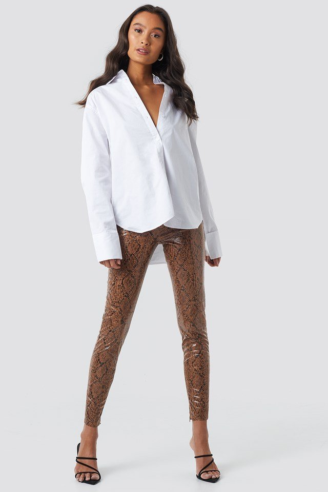 Snake Print Coated Pants Brown