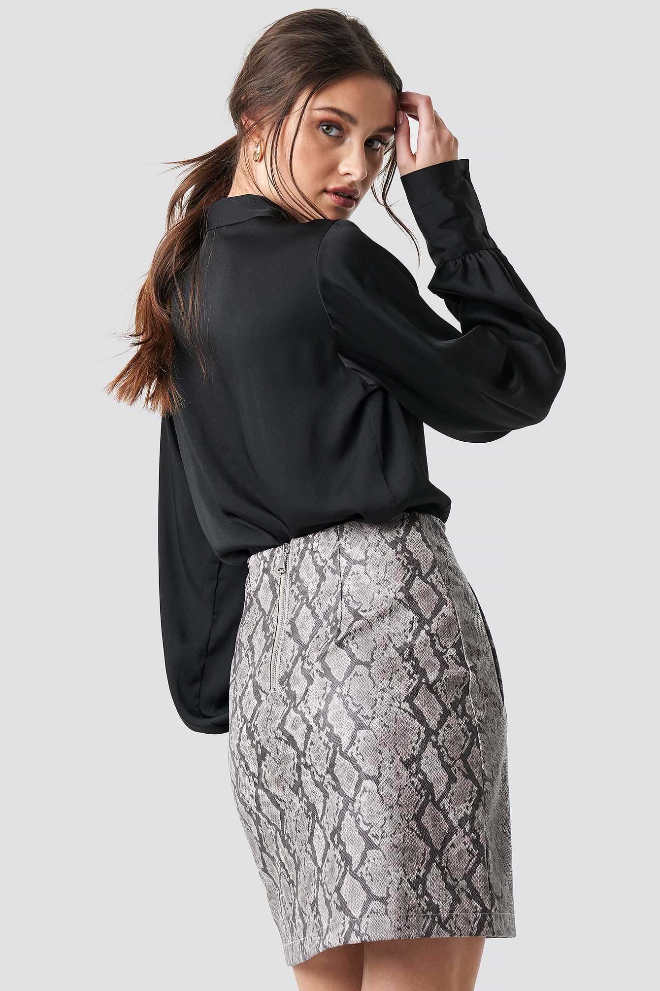 na-kd -  Snake Print Mini Skirt - Multicolor